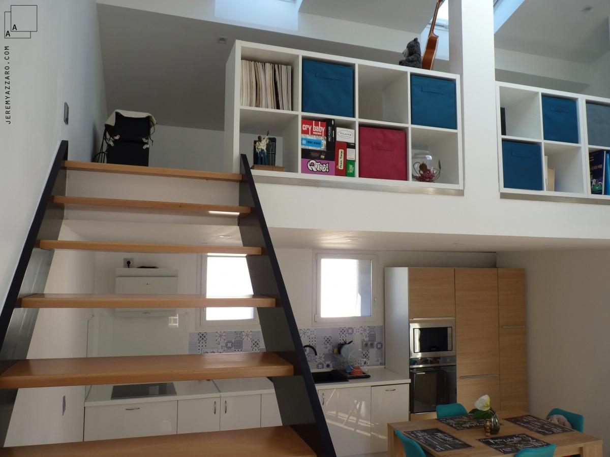 Création d'un triplex en maison de ville « de bas en haut » : renovation-creation-plancher-duplex-mezzanine-escalier-bois-azzaro-architecte-min