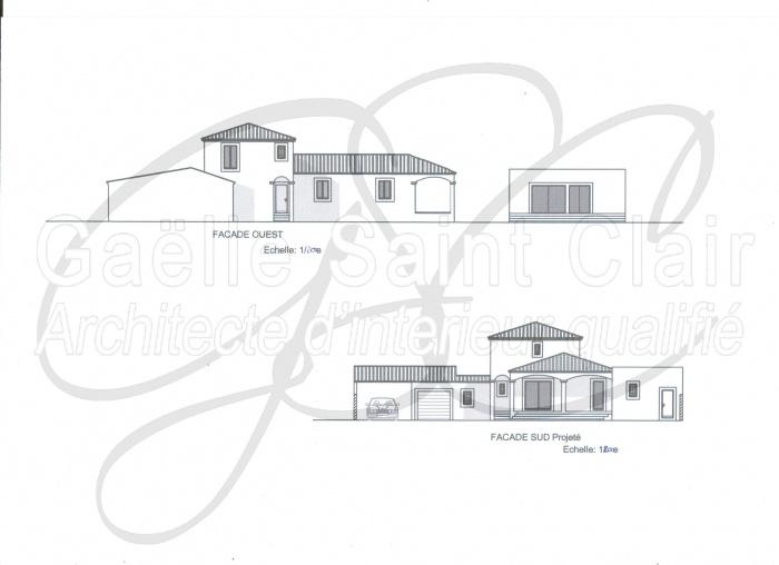 Construction d'une dépendance et d'une piscine avec paysaisme et extension de la villa : Façade 1