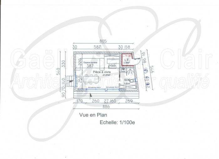 Construction d'une dépendance et d'une piscine avec paysaisme et extension de la villa : Plan intérieur Dépendance