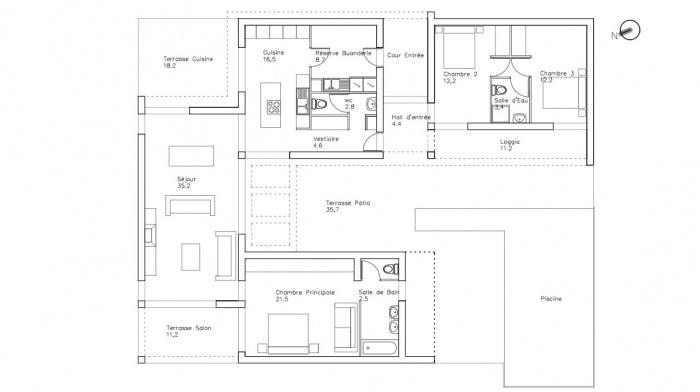 Création d'une Maison Contemporaine : maison-contemoraine-plan-jeremy-azzaro-architecte-paca