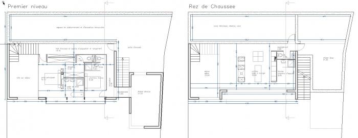 Création d'une maison contemporaine avec Atelier : plan-maison-contemporaine-ossature-bois-poutres-paca-jeremy-azzaro-architecte