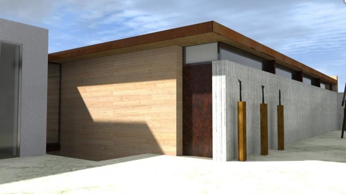 Création d'une maison contemporaine avec Atelier : entree-maison-contemporaine-ossature-bois-poutres-paca-jeremy-azzaro-architecte