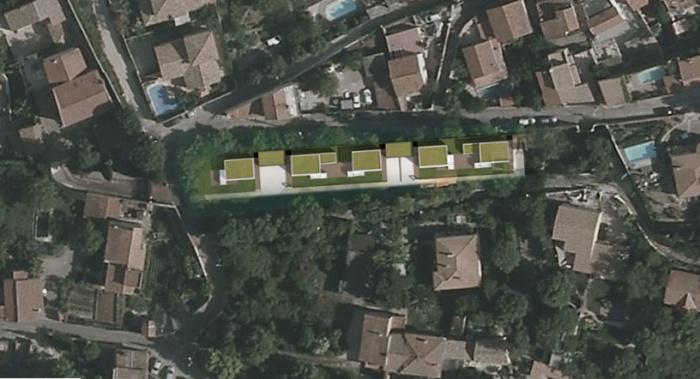 Composition d'un groupement de 5 logements : planmasse-logements-individuels-contemporains-modulables-jeremy-azzaro-architecte-paca