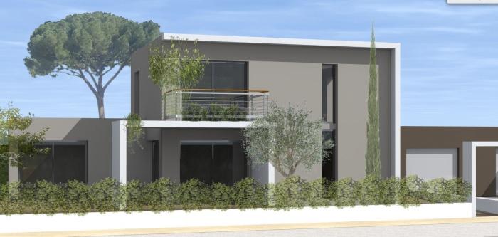 Composition d'un groupement de 5 logements : maison-logements-individuels-contemporains-modulables-jeremy-azzaro-architecte-paca