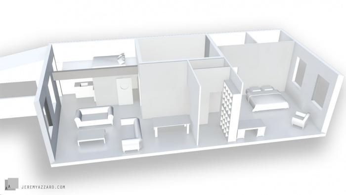 Réaménagement Intérieur dans un Immeuble ancien : amenagement-interieur-architecture-maquette-azzaro-archjitecte