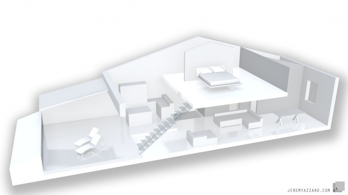 Surélévation d'une Maison de Village : maquette-surelevation-maison-combles-loft-terrasse-tropezienne-azzaro-architecte