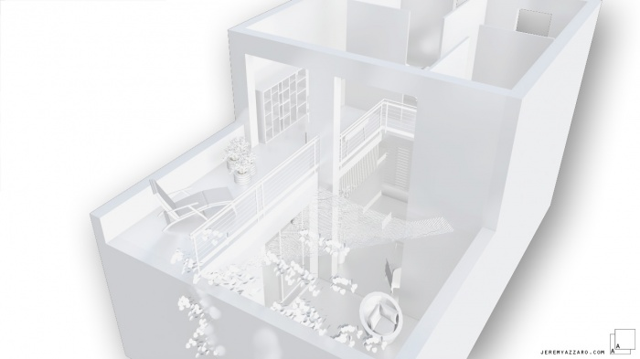 Surélévation en ossature bois, greffe contemporaine : e-surelevation-ossature-bois-maison-contemporaine-marseille-maquette-blanche-jeremy-azzaro-architecte
