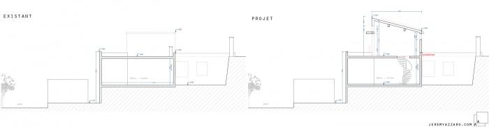 Surélévation d'une maison pour la création d'une suite parentale : e-surelevation-extension-maison-villa-coupe-projet-jeremy-azzaro-architecte