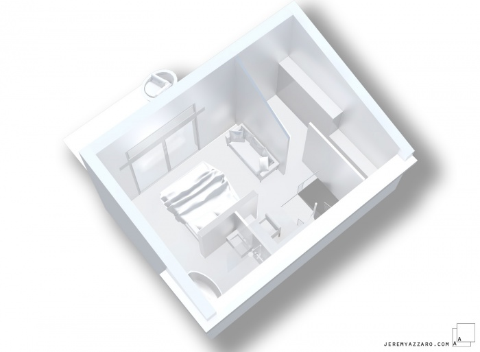 Surélévation d'une maison pour la création d'une suite parentale : g-surelevation-extension-maison-villa-maquette-suite-loft-jeremy-azzaro-architecte-
