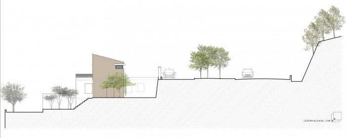 Surélévation d'une maison pour la création d'une suite parentale : h-surelevation-extension-maison-villa-contemporaine-coupe-paysage-jeremy-azzaro-architecte-