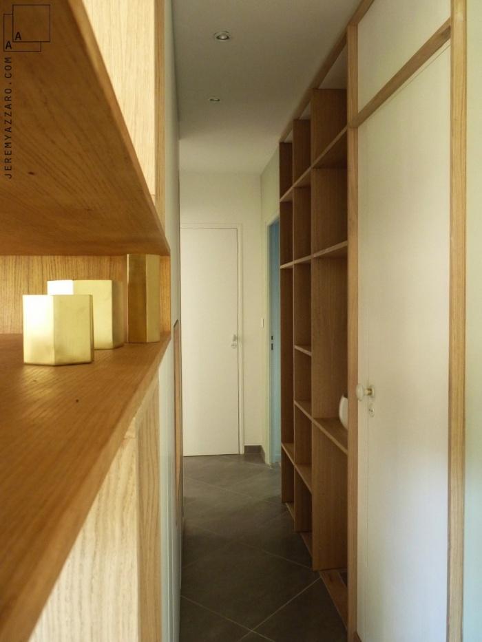 Aménagement Intérieur d'une villa  avec création de mobilier : amenagement-mobilier-passage-design-mobilier-bois-blanc-beton-jeremy-azzaro-architecte-marseille