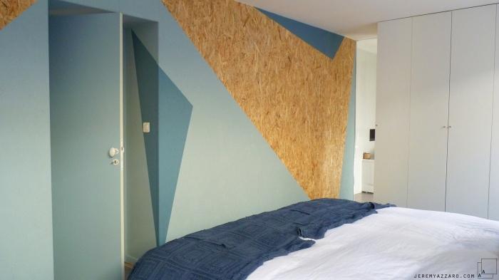 Aménagement Intérieur d'une villa  avec création de mobilier : amenagement-bois-osb-design-mobilier-suite-parentale-peinture--geometrie-jeremy-azzaro-architecte