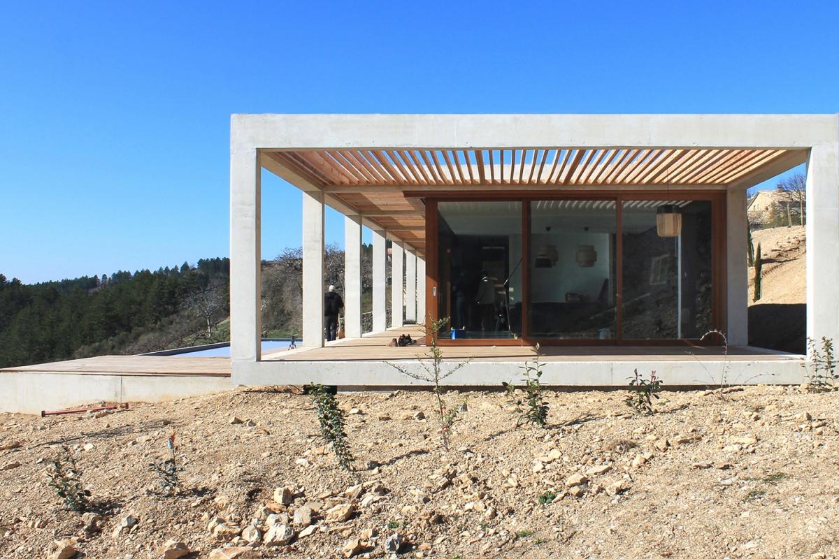 Maison de vacances béton et ossature bois : Facade Est